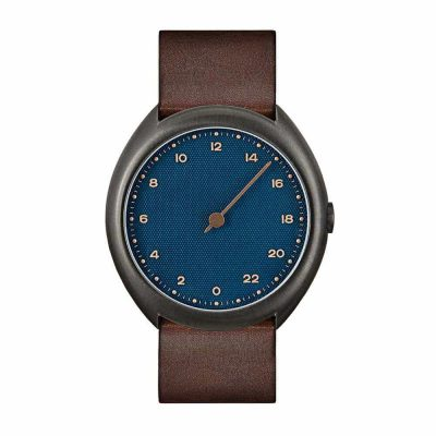 slow O 14 - single handed watch - anthracite case, blue dial